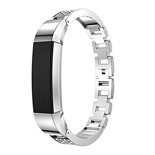 SUNEVEN Fitbit Alta/Alta HR Ersatz Gurt, Metall Edelstahl Sport Armband mit Strass für Fitbit Alta/HR Fitness Armband, Silber