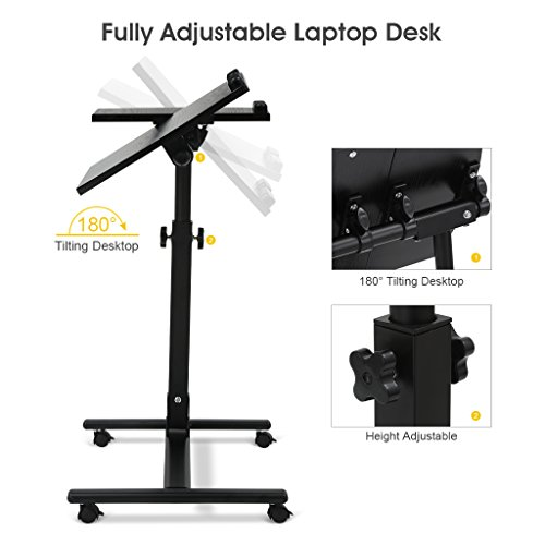 LANGRIA Laptop Rolling Cart Table Height Adjustable Mobile Laptop Stand Desk Photo #4