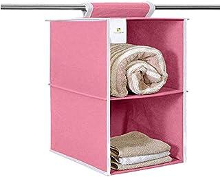HomeStrap Hanging 2 Shelf/Compartment Clothes Storage Wardrobe Organizer - Pink