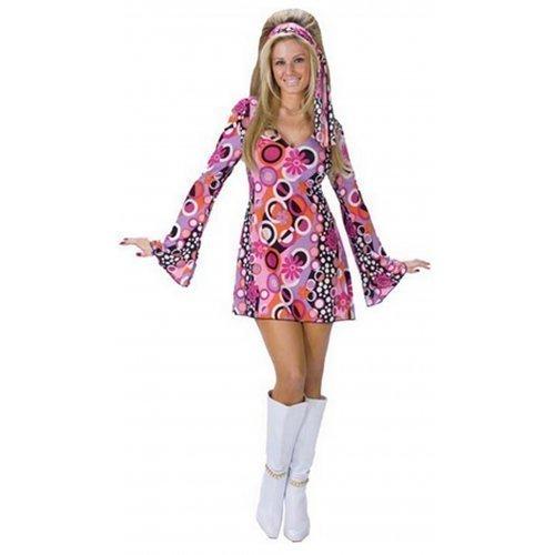 Fancy Me Damen Kostüm Sexy 60s 70s Jahrzehnte Pinkes Gefühl, Groovy Hippie Chick Kleid Outfit - Rosa, 44-46