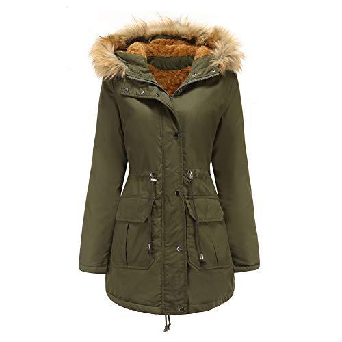 SMTM Damen Jacke Plus Samt Baumwolle Kapuzenjacke Pelzkragen Warme Jacke Plus Size...