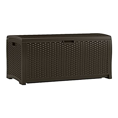 Suncast DBW7300 Mocha Wicker Resin Deck Box, 73-Gallon