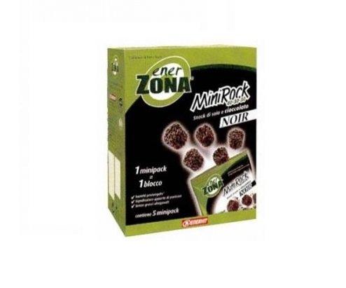ENERZONA - MINIROCK 40-30-30 NOIR- 1 verpakking met 5 minipack à 24 g soja-snack en chocolade noir. Glutenvrij, veganistisch 1 minipack = 1 blok