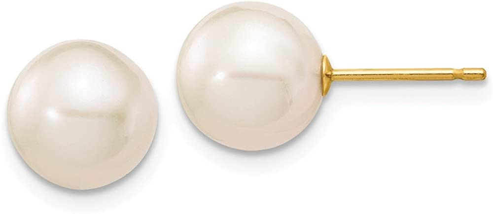 Solid 14k Yellow Gold 8-9mm White Round FW Cultured Pearl Stud Earrings