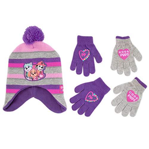 Nickelodeon Paw Patrol Girls Winter Hat and 2 Pair Mittens or Glove Set (Toddler/Little Girls)