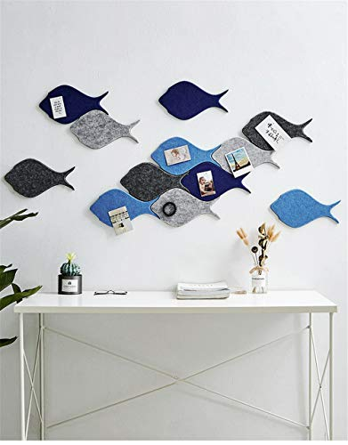 Memo Bulletin Board Set w/Push Pins - 4 stks, Decoratieve vis vilt tegels muur Notice Board - Notities Foto's Doelen Foto's Tekenen Kleuterschool Thuis Creatieve Office Decor Sofa TV Achtergrond Muursticker Blauw