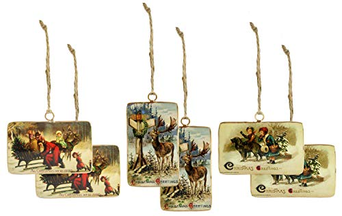 AuldHome Design Set of 6 Vintage Retro Christmas Ornaments (3 Designs, 6 Ornaments Total); Nostalgic Tree Decorations in Metal Frames