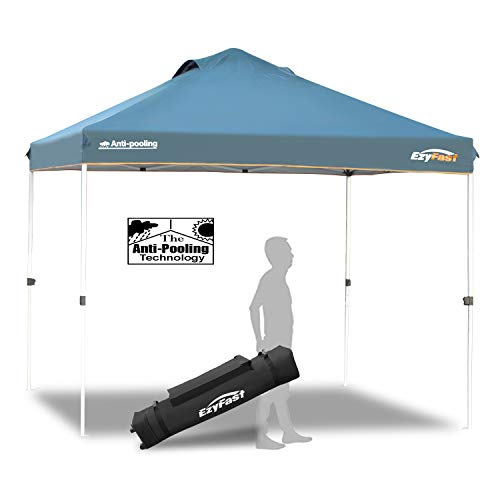 EzyFast Patented Antipool Instant Beach Canopy Shelter for Rain or Sunshine, Portable 10ft x 10ft Straight Leg Pop Up Shade Tent with Wheeled Carry Bag (10 x 10)
