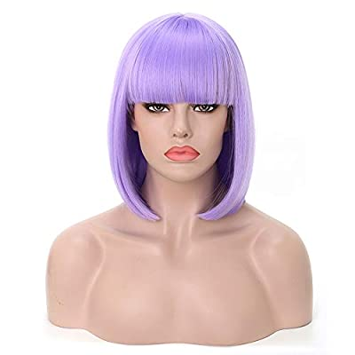 """Rosastar Short Bob Hair Wigs 14"""" Straight with Flat Bangs Synthetic Hair Wig Colorful Cosplay Daily Party Halloween Wig for Women Heat Resistant Natural As Real Hair"""