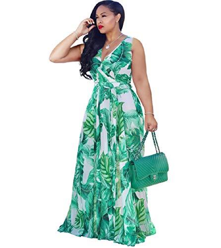 Dora's Womens Chiffon Deep V Neck Floral Printed Maxi Dress Unique Loose Summer Boho Dresses High Waisted