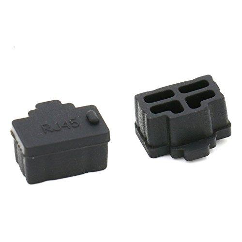 Kebinfen® 20 Stück Schwarz Silikon Ethernet Hub Port RJ45 Abdeckung Anti staubschutz stöpsel für PC Ethernet Hub Port RJ45 Weiblich End (20 Stück, Schwarz)