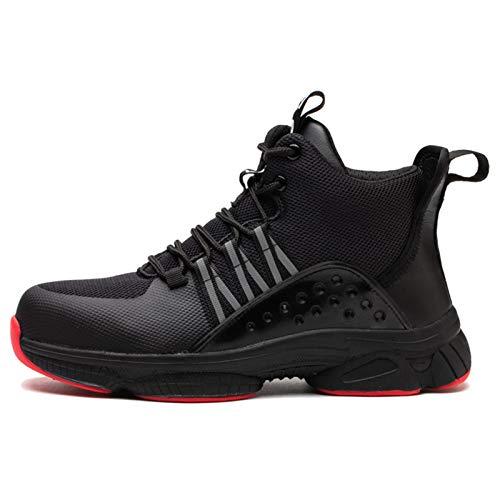 Zapatos de Seguridad Zapatillas Hombre Mujer Ligero Transpirable Antideslizante Zapatos de Trabajo Zapatillas de Malla Calzado Industrial,Black-38(UK5)