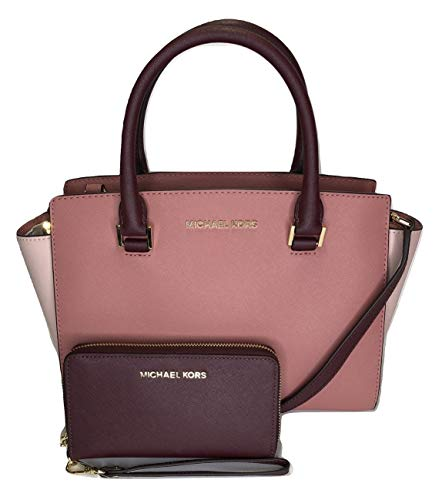 Michael Kors Selma MD TZ Satchel mit Jet Set Travel Flat Phone Wristlet/Wallet (Rose/Merlot)