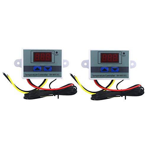 Senmubery 2 Unids 110-220V Ac Controlador de Temperatura Led Digital Xh-W3001 para Incubador Refrigeración Calefacción Interruptor Termostato Sensor Ntc