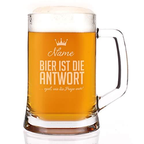 Herz & Heim® Bierkrug mit Gravur des Namens und dem Spruch Bier ist die Antwort