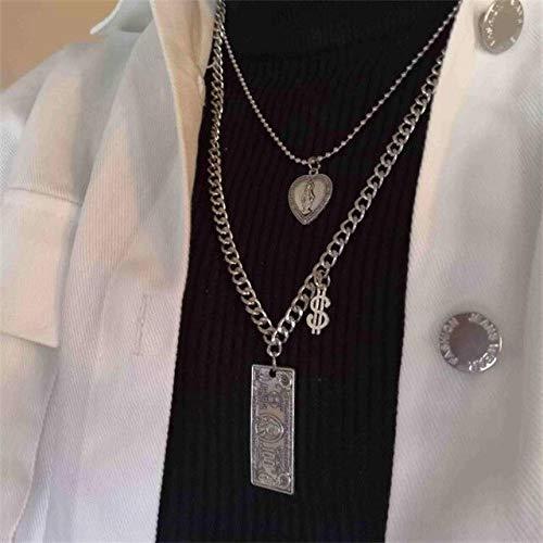 ISMILE Moda multicapa Hip Hop Collar de cadena larga para mujeres hombres joyería moneda conejo cruz colgante collar accesorios