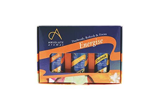 Absolute Aromas Set de Mezclas de Aceites Esenciales Energise - Paquete de 3 Mezclas de Aceites de Aromaterapia de 10ml - Daybreak, Refresh y Focus
