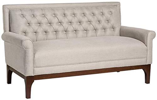 EuroLuxHome Settee Baker Dark Walnut Upholstery Birch Wood Fabric New