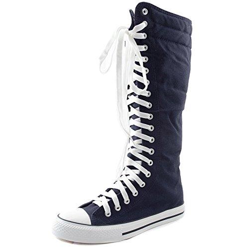 Damen Stiefel, kniehoch, klassisch, Canvas, himmelhoch, zum Schnüren, stilvoll, Punk, flach, Blau (marineblau), 44 EU