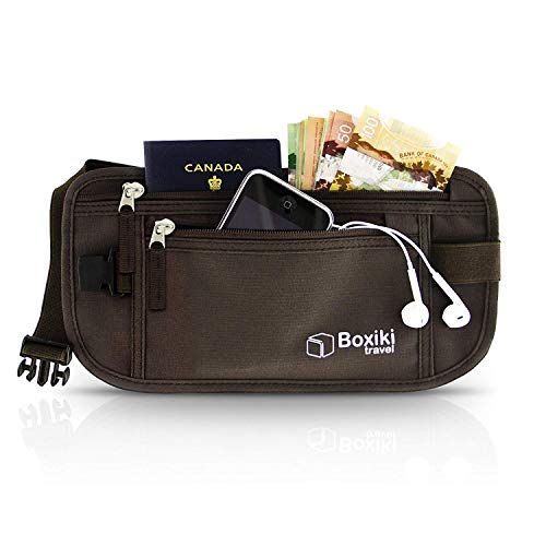 Boxiki Travel Money Belt - RFID Blocking Money Belt | Safe Waist Bag, Secure Fanny Pack for Men and Women, Fits Passport, Wallet, Phone and Personal Items. Running Belt, Waist Pack