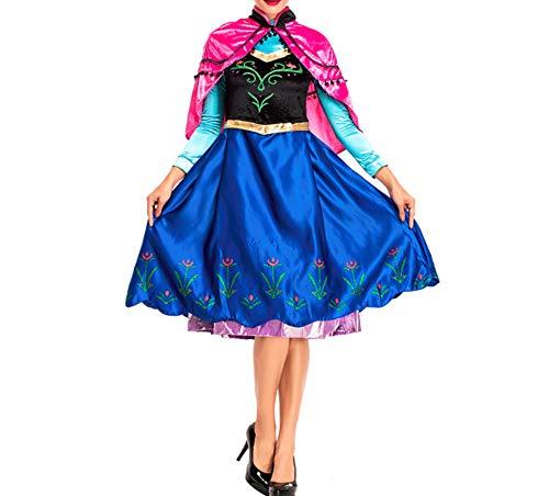 Mitef Anime Cosplay Kostüm Prinzessin Anna mit Schal für Erwachsene - Mehrfarbig - Mittel