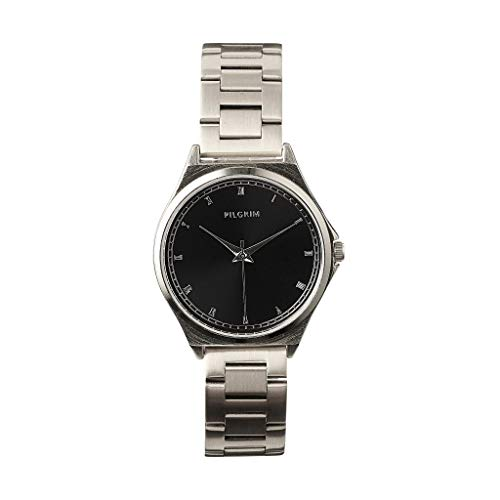 PILGRIM Uhr Bellerose, Metallband, versilbert, Schwarz, Ø 35mm