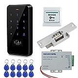 HFeng Kit de Sistema de Control Acceso a la Puerta Teclado RFID a Prueba de Agua IP68 + Cerraduras de Choque Eléctrico...