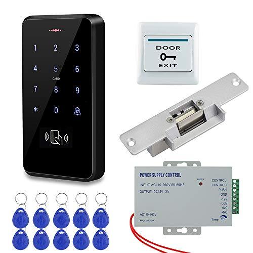 HFeng Kit de Sistema de Control Acceso a la Puerta Teclado RFID a Prueba de Agua IP68 + Cerraduras de Choque Eléctrico NC + Fuente de Alimentación DC12V + 10pcs 125KHz EM4100 Tarjetas