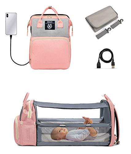 Mochila multifunción para bebé con 3 bolsillos aislantes de botella, 2 ganchos de cochecito, 1 colchón