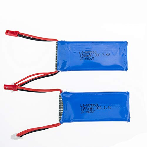 2 pcs 7.4V 1200mAh 30C Lipo Battery with JST Connector for YIZHAN X6 JJRC H40WH MJX X101 WLtoys V666 V353B UDI U829X RC Drone Spare Part