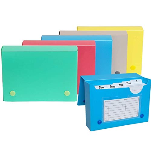 1InTheOffice Index Card Case, 4x6 Index Card Holder, Assorted Colors (6 Pack)