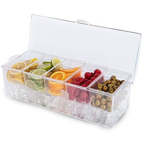 Chilled Bar Top Food & Condiment Dispenser, 5 Tray - Iced Cooled Garnish Station Serving, Bartending, Nacho & Taco Bars, Sundae Bar & Salad Prep - Topping Organizer, Restaurant Supplies & Accessories