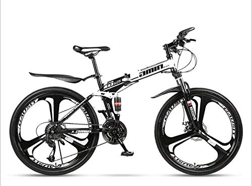 COUYY Double Shock 26 inches White, Mito Folding Mountain Bike Wheels, Double disc Mountain Bike Bicycle Adult Male and Female Students,27 Speed