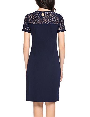 Zeagoo Damen Elegant Rundhals Kleid Partykleid Etuikleid Sommerkleider Kurzarm mit Spitzen am Rücken Dunkelblau L