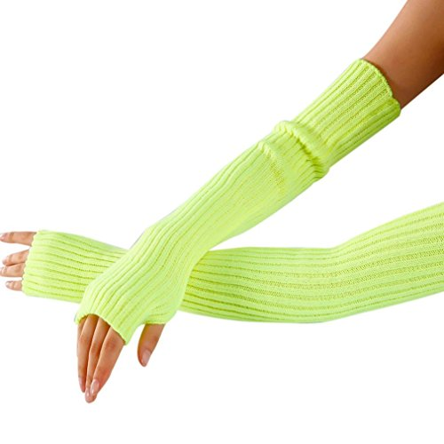 hleCKL Women's Cable Knit Arm Warmer Fingerless Gloves Thumb Hole Gloves Mittens 52x7cm (Yellow)