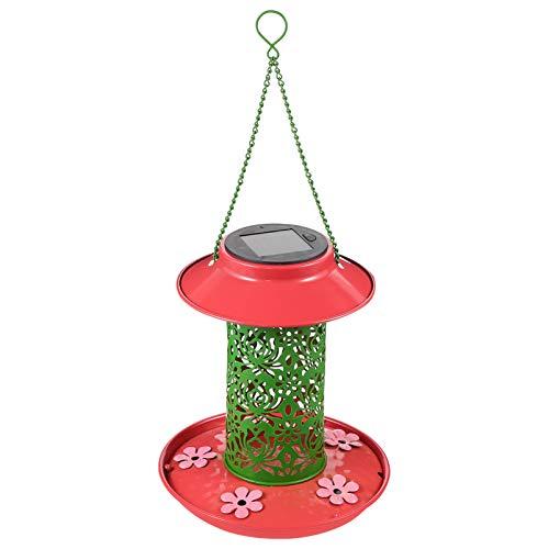 YARNOW Solar LED Balkon Kolibri Feeder für Outdoor Kolibri Feeder mit Solar Lichter Vogel Feeder