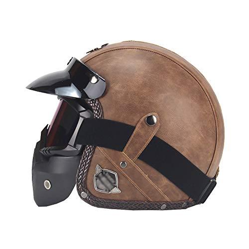 YXDDG Moto Moto Casque Quatre Saisons Casque Vintage Fait Main personnalité rétro Harley Casque Moto Automobile 3 4 Cuir Casque Casque Demi Hommes et Femmes-Brun XL
