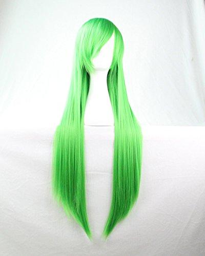 Mujeres Ladies Girls 80cm Verde Color larga recta