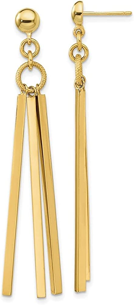 14k Yellow Gold Polished 3 Earrings Arlington Mall Bar Dangle Regular store