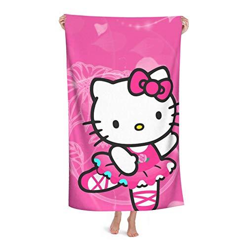 Toalla de baño de dibujos animados Hello Kitty, de microfibra, ligera para toallas de baño suaves, uso para natación, viajes, silla de playa, gimnasio, deportes, 52 x 32 pulgadas