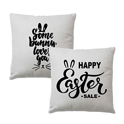 2Pcs Fundas Almohada Some Bunny Loves You Happy Easter Funda cojín Farm Spring Holiday Funda Almohada 18 'Patio Easter (18')