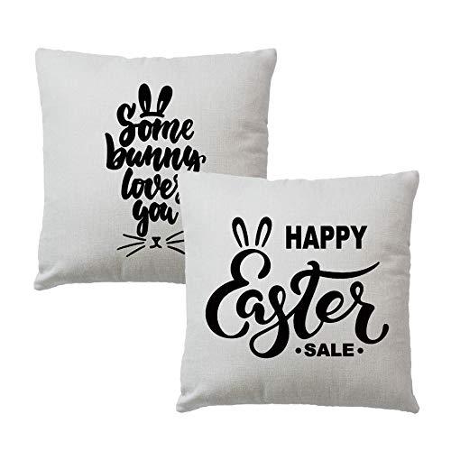 2Pcs Fundas Almohada Some Bunny Loves You Happy Easter Funda cojín Farm Spring Holiday Funda Almohada 18 'Patio Easter (18')
