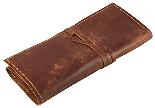 Rustic Genuine Leather Pencil Roll - Pen and Pencil Case - Dark Brown