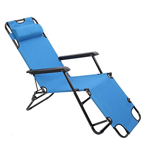 Home Portable Dual Purposes Extendable Folding Reclining Chair Blue Portable Lounge Chairs for Outdoor Lawn Beach Pool Camping