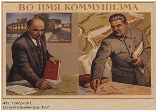 SHENGZI Canvas Poster World War II Leninist Propaganda Poster For The Soviet Union Soviet Union Vintage Wall Poster 50 * 70Cm Frame