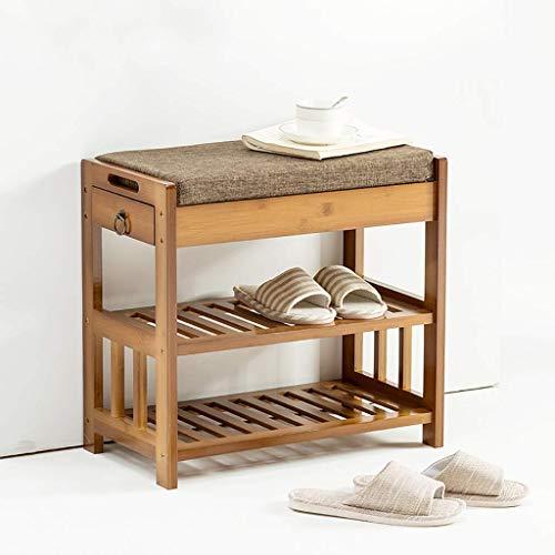 ZXL Schoenenrek, 2 niveaus, kleine kast voor schoenen van bamboe met lade, organizer, deur