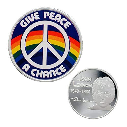 Heqing 2 uds Monedas conmemorativas Plateadas Famoso músico John Lennon Recuerdo Dorado colección de Arte Regalos Dan Paz arcoíris