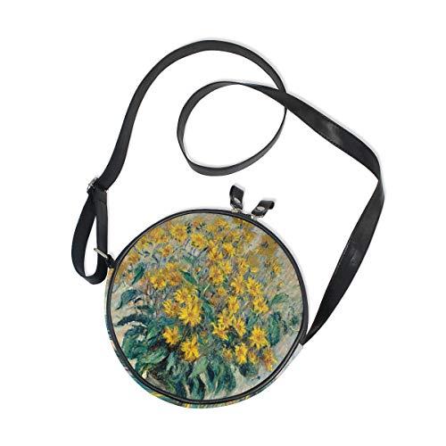 Emoya Umhängetasche Monet Sonnenblumen Circle Canvas Schultertasche Rund Strand Handtasche