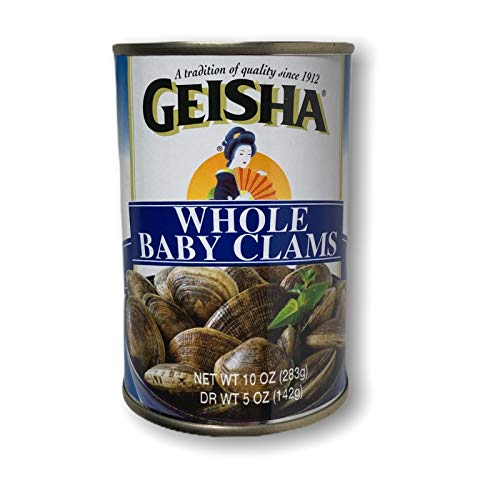Geisha Wild Caught Whole Baby Clams (Pack of 3) 10 oz Cans (Dry Weight 5 oz)