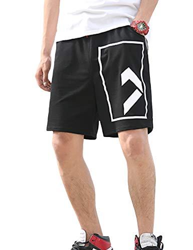Bestgift Short de Sport de Plage Large Droit Respirant Couleur de Contraste avec Cordon Réglable Homme XXXXXL Noir